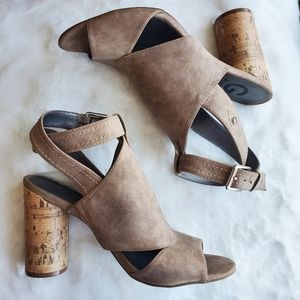 🍁 G by Guess Taupe Block Heel Cutout Sandals